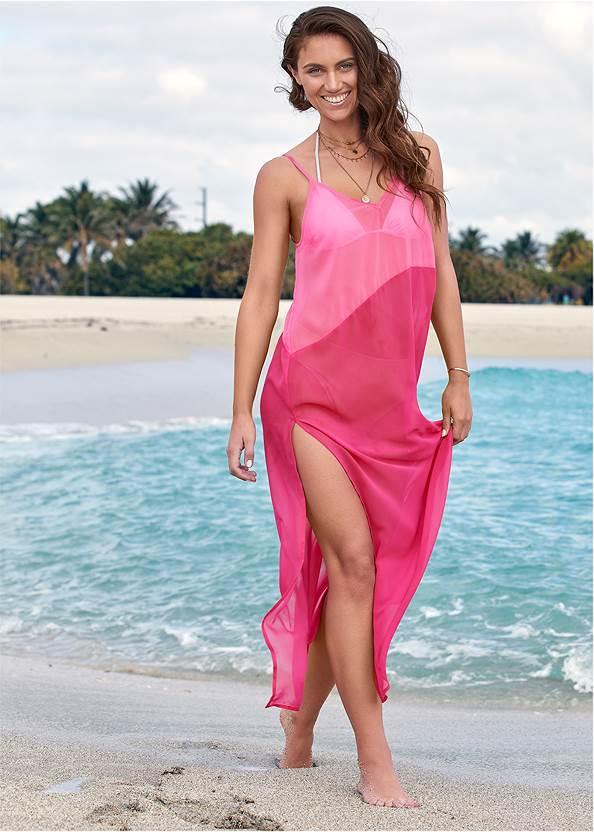 Color Block Maxi,Triangle String Bikini Top,Low Rise Classic Bikini Bottom ,Girlboss One-Piece
