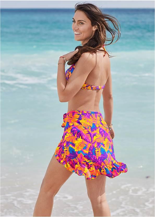 Back View Ruffle Trim Wrap Skirt