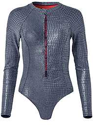 Ghost with background  view Sports Illustrated Swim™ Long Sleeve Zip One-Piece