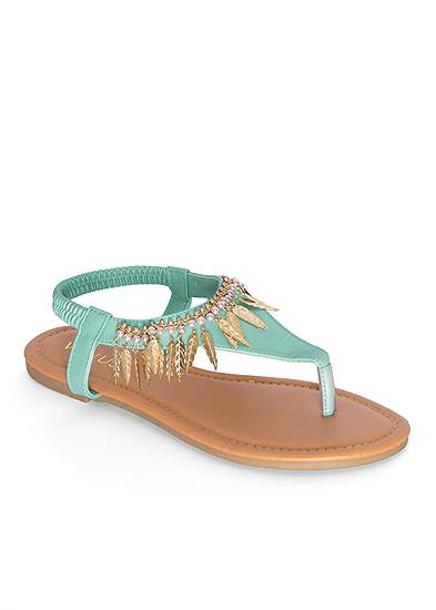Feather Charm Thong Sandals