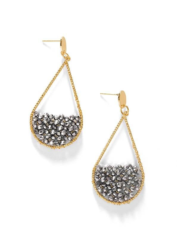 Metallic Beaded Earrings,Mesh Overlay Lace Top,Bum Lifter Jeans