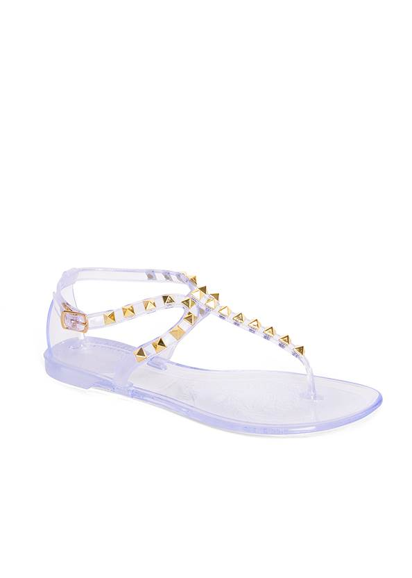 Studded Jelly Thong Sandals,Basic Cami Two Pack,Tie Dye Fold Over Pants,Cropped Puff Sleeve Denim Jacket