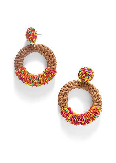 Beaded Rattan Hoop Earrings