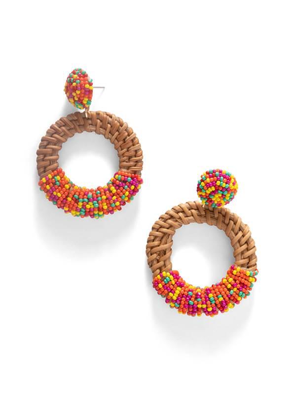 Beaded Rattan Hoop Earrings,Off Shoulder Chambray Top,High Waist Bottom