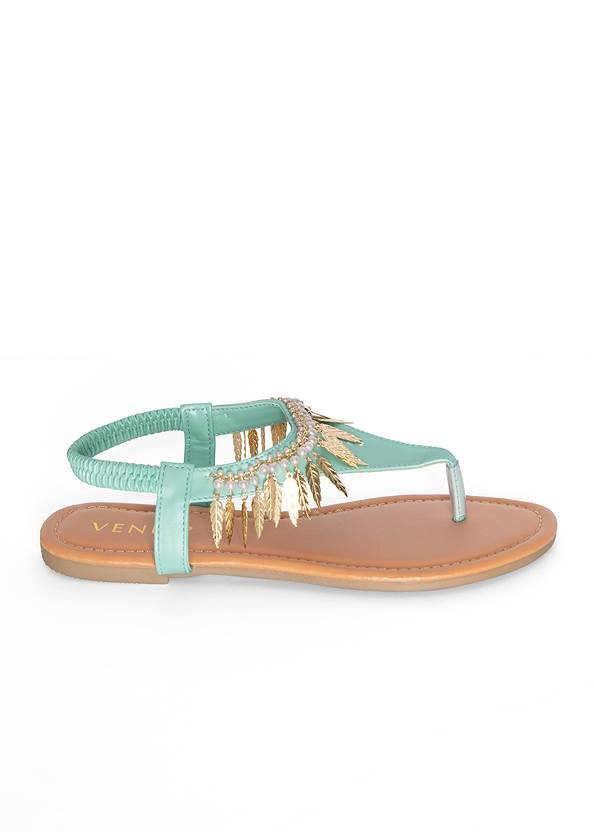 Alternate View Feather Charm Thong Sandals