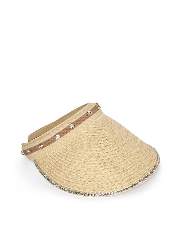 Rhinestone Trim Visor,Waffle Knit Tie Dye Top,Linen Shorts,Shell Detail Bracelet Set