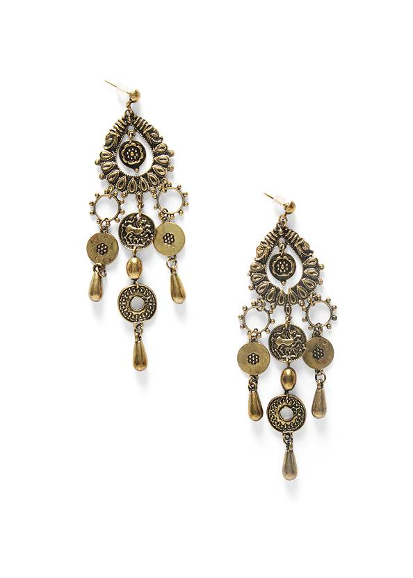 Coin Drop Earrings,Tiered Lace Trim Maxi Dress