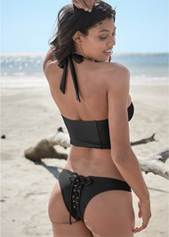 Full back view Sports Illustrated Swim™ Lace Up Back Cheeky Bottom