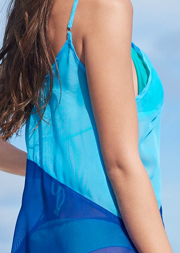 Detail back view Color Block Maxi Dress Cover-Up
