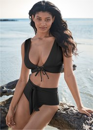 Cropped front view Sports Illustrated Swim™ High Waist Bottom