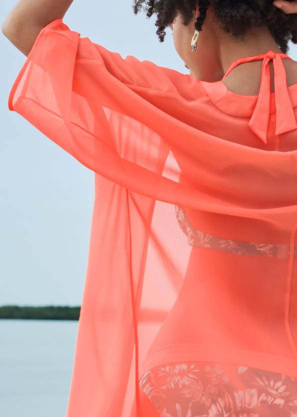 Detail back view Sheer Kimono Cover-Up