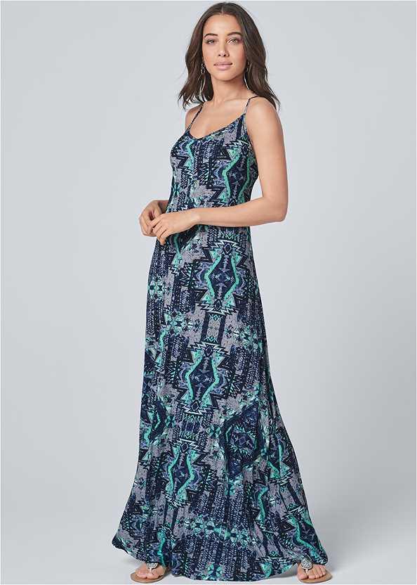 Printed Maxi Dress,Rhinestone Flats,Pearl™ By Venus Strapless Bra