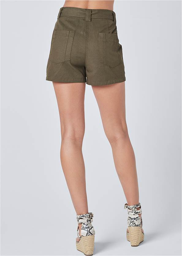 Waist down back view Belted Utility Shorts