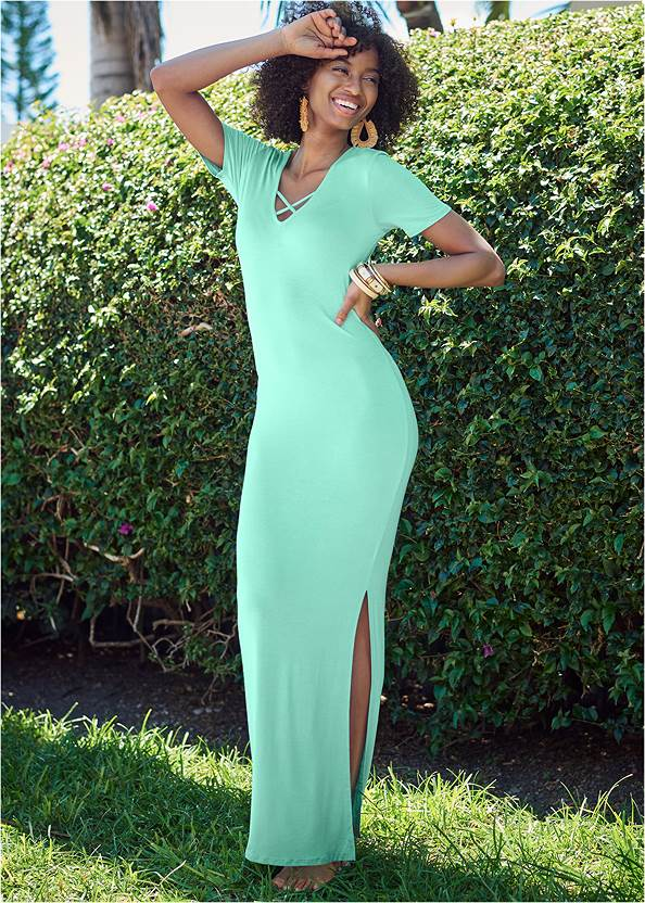 Ruched Maxi Dress,Embellished Low Wedges