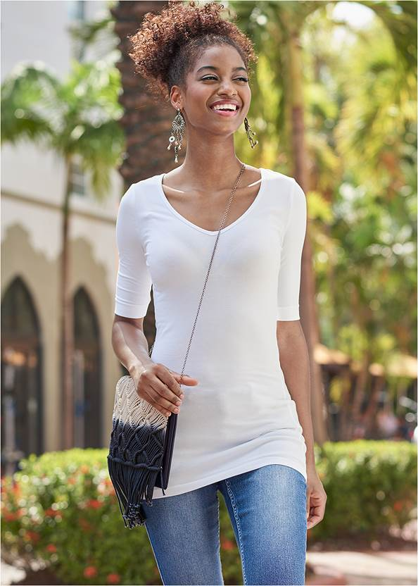 Long And Lean V-Neck Tee,Color Capri Jeans,Basic Leggings,Mid Rise Slimming Stretch Jeggings,Ombre Macrame Crossbody,Coin Drop Earrings