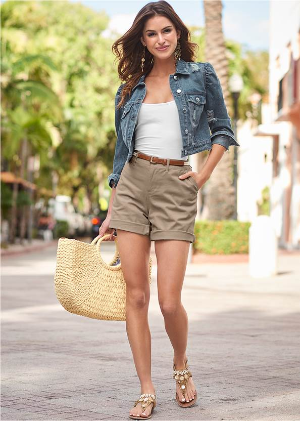 Belted Cuffed Shorts,Basic Cami Two Pack,Square Neck Tank Top,Cropped Puff Sleeve Denim Jacket