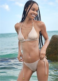 Full front view Sports Illustrated Swim™ Tie Side String Bottom