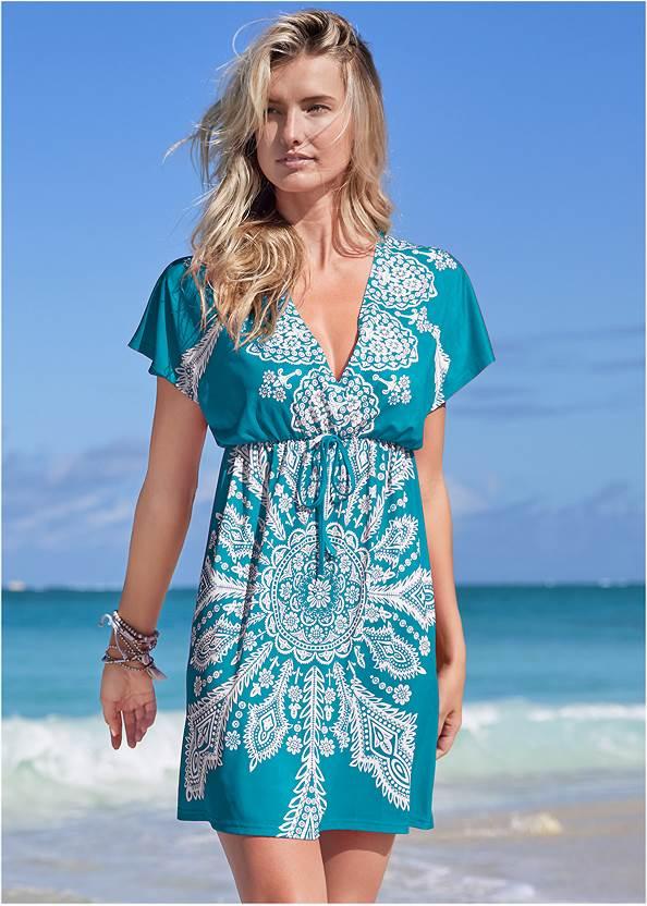 Printed Cover-Up Dress,Goddess Enhancer Push Up Halter Top,Goddess Mid Rise Bottom