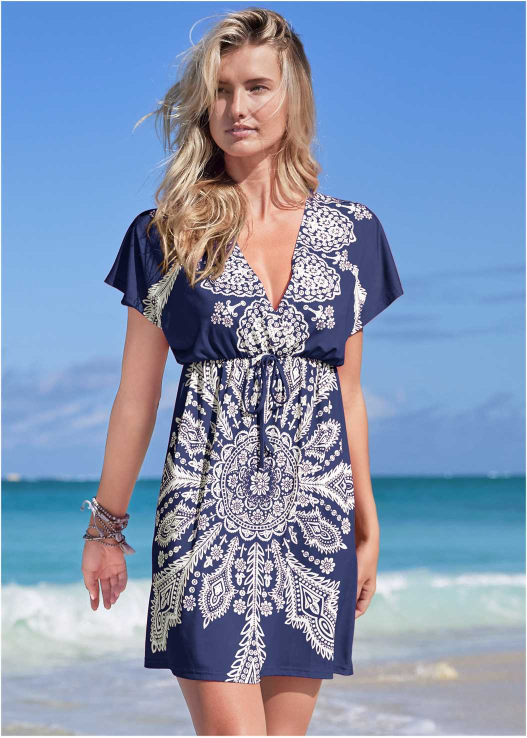 Printed Cover-Up Dress,Goddess Enhancer Push Up Halter Top,Goddess Mid Rise Bottom,Bandeau Ring One-Piece