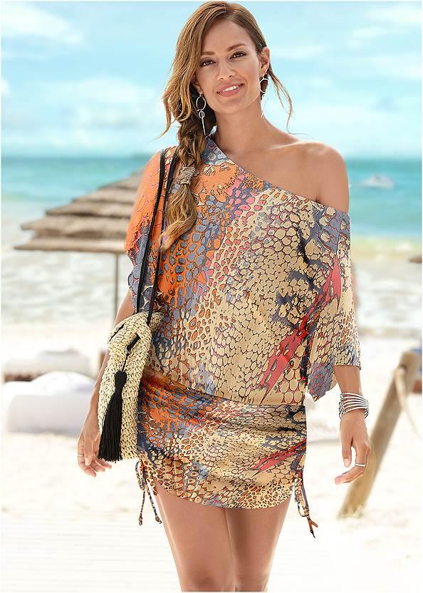 Abstract Convertible Dress,Oversized Tassel Earrings,Circle Basket Wooden Bag