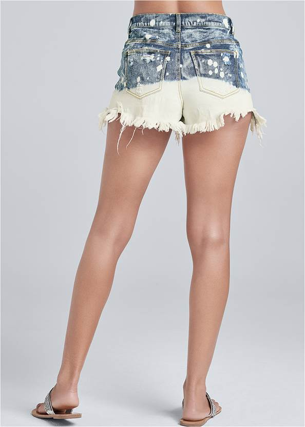 Back View Bleached Jean Shorts