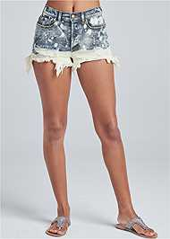Front View Bleached Jean Shorts