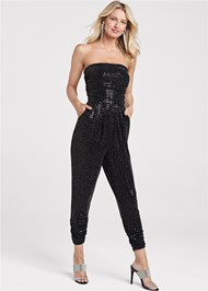 Full front view Strapless Sequin Jumpsuit