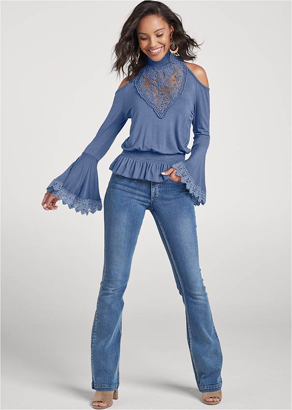 Full front view Lace Mock Neck Top