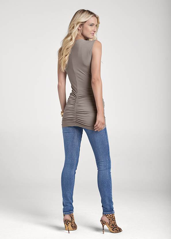 Back View Cowl Neck Ruched Top