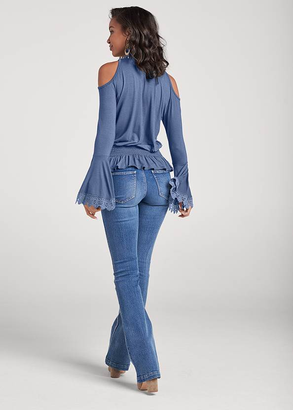 Full back view Lace Mock Neck Top