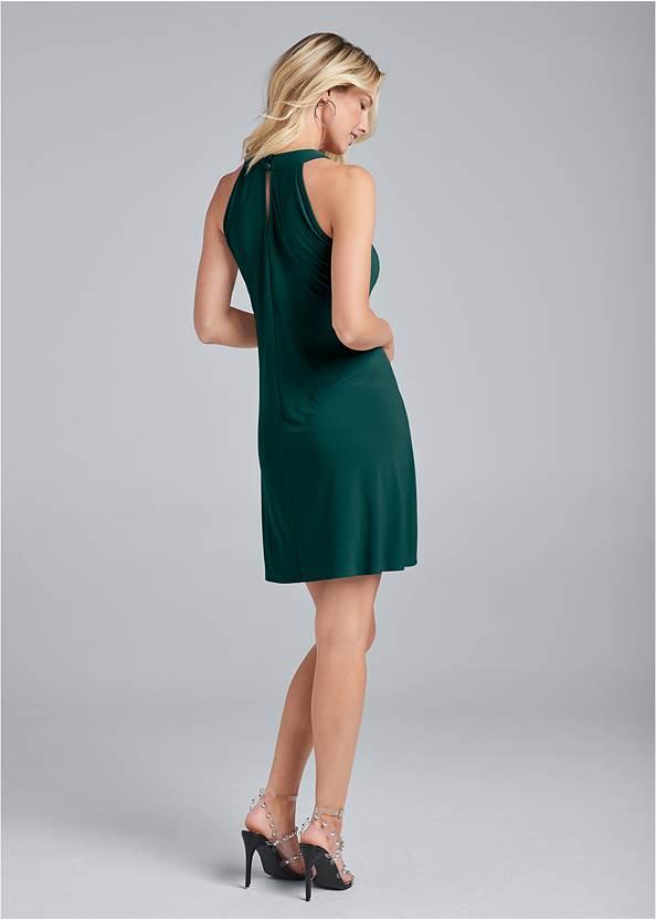 Back View Embellished Neck A-Line Dress