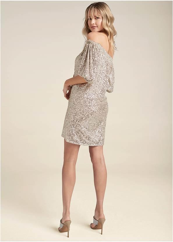 Back View Sequin Off-The-Shoulder Dress