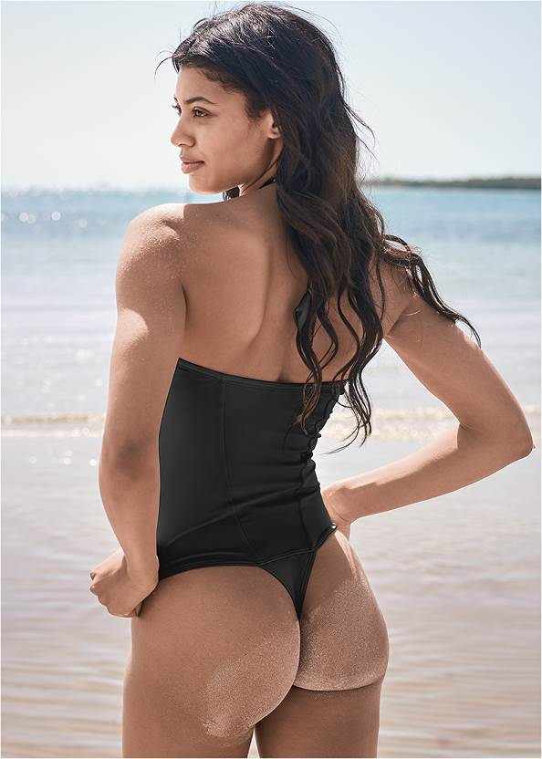 Back View Sports Illustrated Swim™ Sexy Cheeky Grommet One-Piece