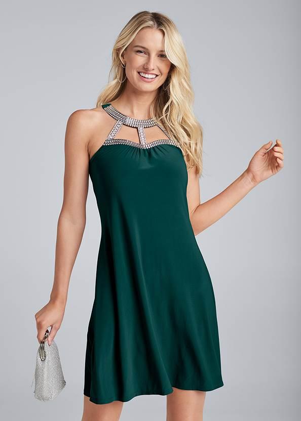 Embellished Neck A-Line Dress,Sexy Ankle Strap Heels,Chain Detail Hoop Earrings,Rhinestone Clutch