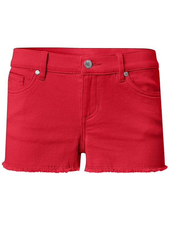 Ghost with background  view Frayed Cut Off Jean Shorts