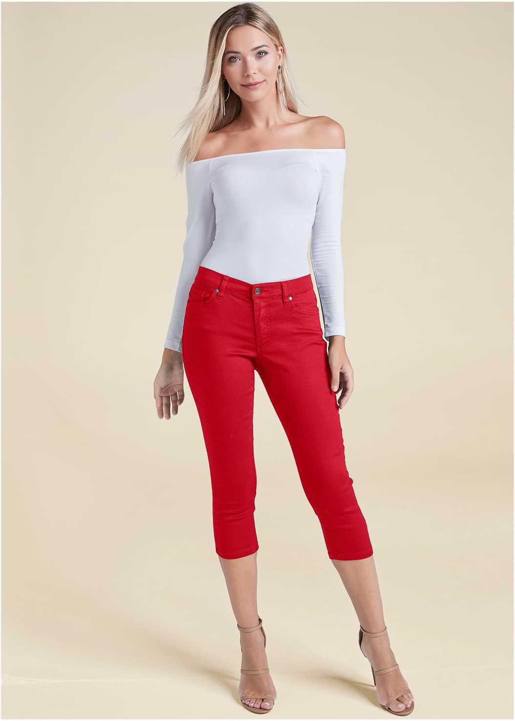 Color Capri Jeans,Off The Shoulder Top,Back Detail Top,Statement Earrings