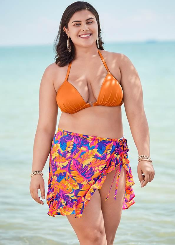 Ruffle Trim Wrap Skirt,Enhancer Triangle Top ,Scoop Front Classic Bikini Bottom ,Multi Color Stone Sandals