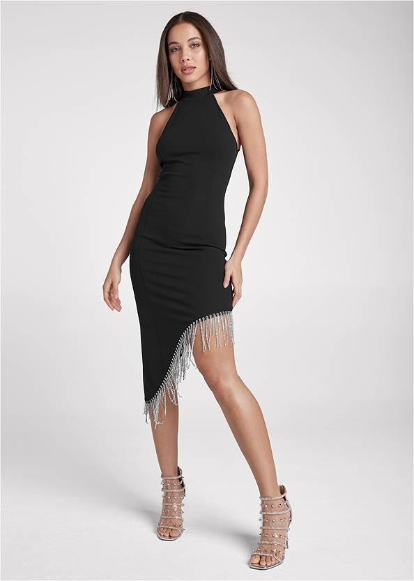 Asymmetrical Fringe Dress,Sexy Ankle Strap Heels,Rhinestone Raffia Clutch