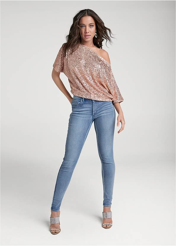 Full front view Off-The-Shoulder Sequin Top