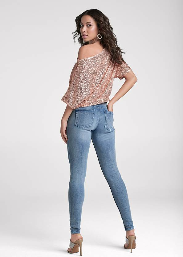 Full back view Off-The-Shoulder Sequin Top