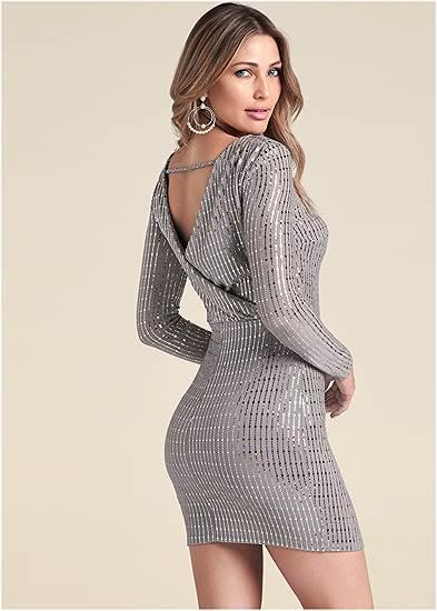 Open Back Shimmer Dress