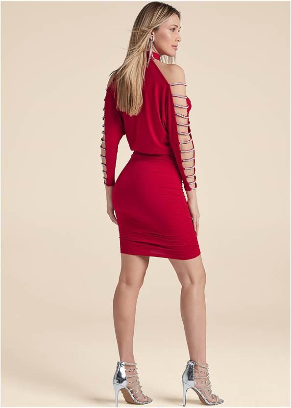 Back View Embellished Cold-Shoulder Dress