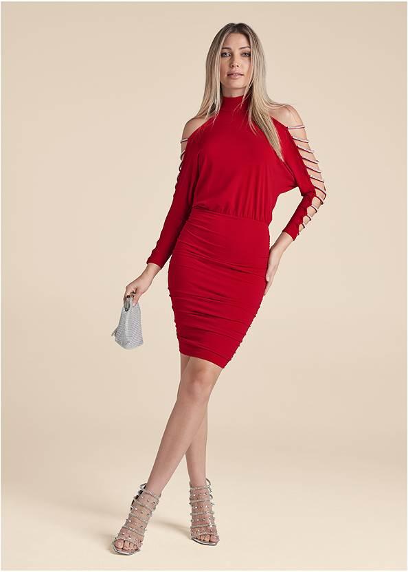 Full Front View Embellished Cold-Shoulder Dress
