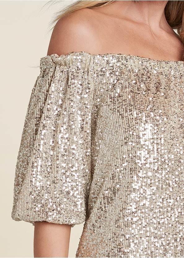 Detail front view Sequin Off-The-Shoulder Dress