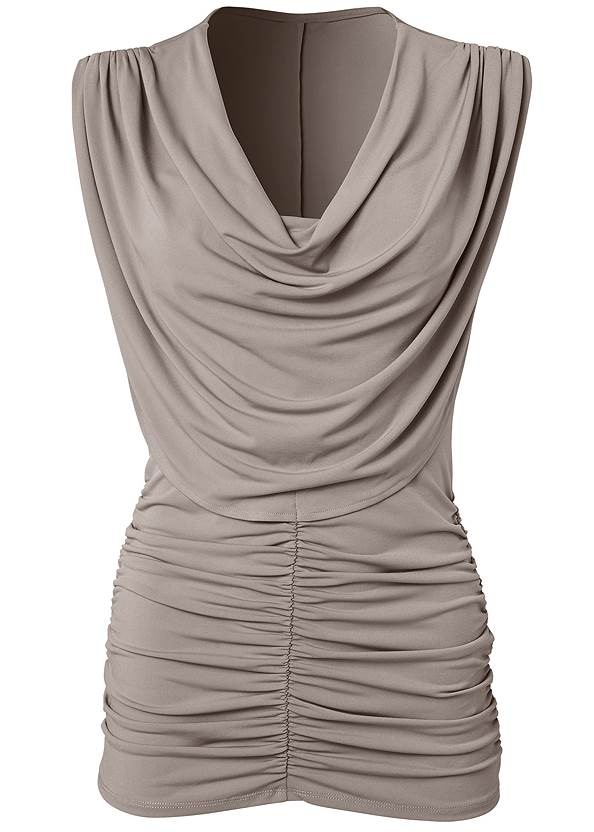 Alternate View Cowl Neck Ruched Top