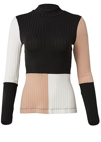 Plus Size Color Block Ribbed Top