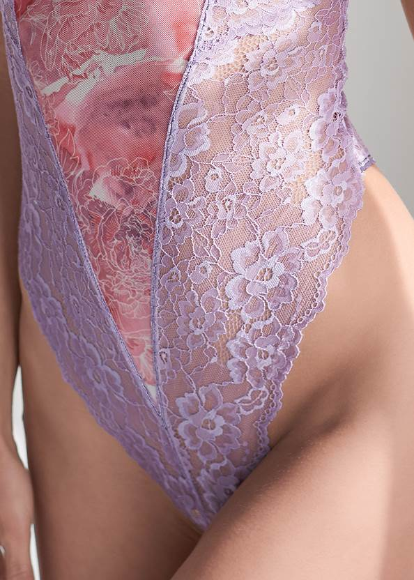 Detail front view Floral And Lace Teddy