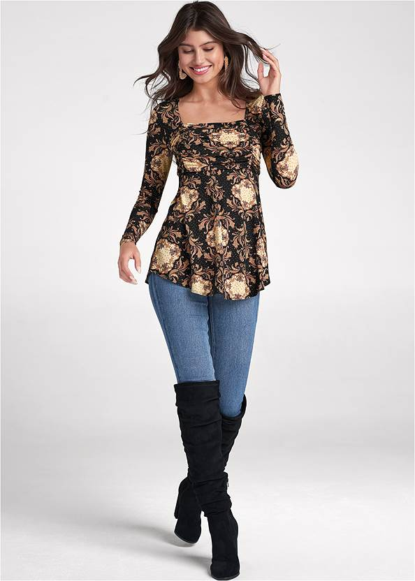 Full front view Medallion Print Top