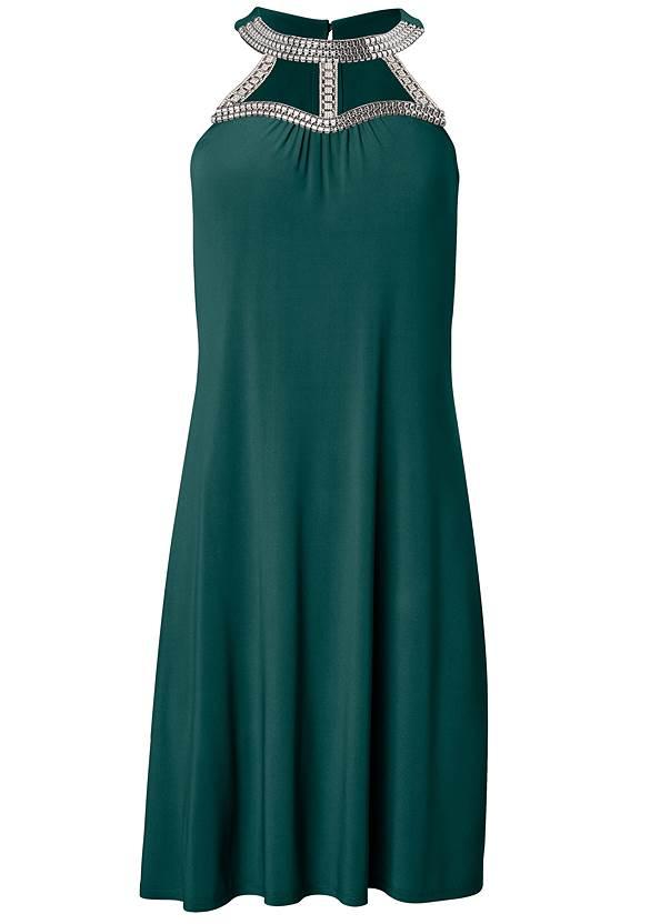 Alternate View Embellished Neck A-Line Dress