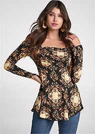 Cropped front view Medallion Print Top